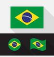 set brazil flag flat design vector image vector image