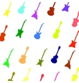 Set Colorful Silhouettes of Different Guitars vector image