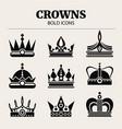 set crowns flat bold vector image vector image