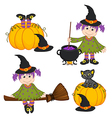 set isolated halloween witch and black cat vector image