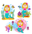 set isolated mermaid under water vector image