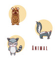 set of cute animals cartoons vector image vector image