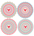 set of isolated mandalas on Valentines Day vector image vector image