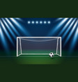 soccer goal and football with spotlight vector image