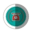 sticker color round frame with kitchen weight vector image