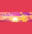 summer party cartoon banner with ice cream cone vector image vector image