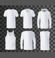 t-shirt template polo hoodie and tank top mockup vector image