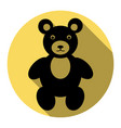 teddy bear sign flat black vector image vector image