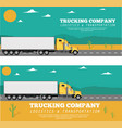 trucking company flyers with container truck vector image vector image