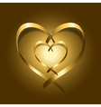 Two Gold silk ribbon hearts vector image