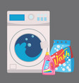 washing machine in flat style isolated on blue vector image