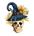Watercolor halloween skull vector image vector image