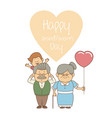 white background with elderly couple and boy happy vector image vector image