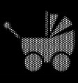 white halftone baby carriage icon vector image