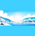 winter landscape of small village houses on banks vector image vector image