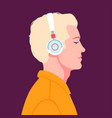 young man listen to music on headphones music vector image vector image