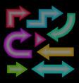 arrow set neon effect vector image