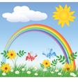 Rainbow Spring Meadows vector image