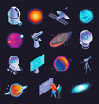 astrophysics isometric icons vector image vector image