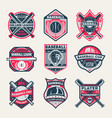 baseball championship vintage isolated label set vector image