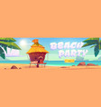 beach party landing page with sea and bungalow vector image vector image