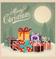 beautiful retro christmas card with presents vector image vector image
