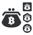 Bitcoin purse icon set monochrome vector image