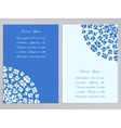 Blue and white flyer design with round pattern vector image