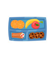 blue lunch box with sweet food fresh fruits vector image