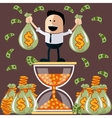 Businessman standing on the hourglass vector image vector image