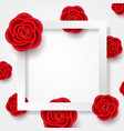card with realistic flowers and square frame vector image