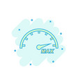 cartoon colored max speed icon in comic style vector image