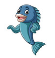 cartoon fish mascot waving hand vector image vector image