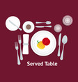 cartoon table setting place formal with vegetables vector image