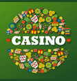 casino gambling icons in round frame composition vector image vector image