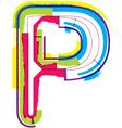 Colorful Grunge font Letter P vector image