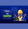 colorful india versus pakistan cricket poster vector image vector image