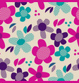 Colorful retro abstract flowers seamless pattern
