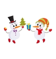 Cute and funny little snowman holding a gift box vector image