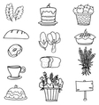 Doodle of thanksgiving set food vegetable vector image