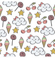 doodle seamless pattern with magical sweets vector image vector image