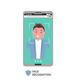 face id concept male face on big smartphone vector image vector image