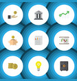 flat icon gain set of document cash bank and vector image vector image