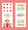 floral banners for womens day greeting card vector image
