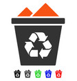 full recycle bin flat icon vector image vector image