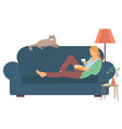 girl reading book leisure at home hob vector image vector image