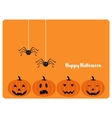 happy Halloween card with evil laughing pumpkins vector image