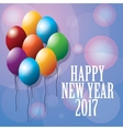happy new year 2017 greeting card ed balloons vector image