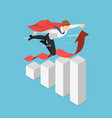 isometric super businessman flying over growing vector image
