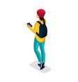 isometric teenager stylish student uses hi tech vector image vector image